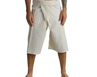 3/4 THAI FISHERMAN PANTS White - Yoga Pants, Zootzu, Fishermen Pants, Harem Pants, Pirate, Peasant, Burning Man, Renaissance Festival, Anime