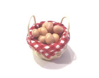 Miniature Basket of Eggs Dollhouse Kitchen Food 1:12 Scale - 412
