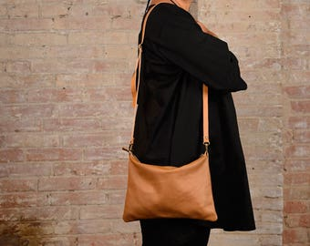 Small leather bag, leather crossbody bag, leather crossbody purse, small leather purse, zip leather bag, small clutch, brown leather purse