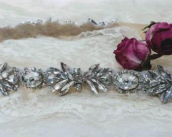 "The ""Audrey"" Skinny Crystal Wedding Belt; Bridal Wedding Sash; Jeweled Bridal Belt; Unique Wedding Dress Sash; Wedding Belt"