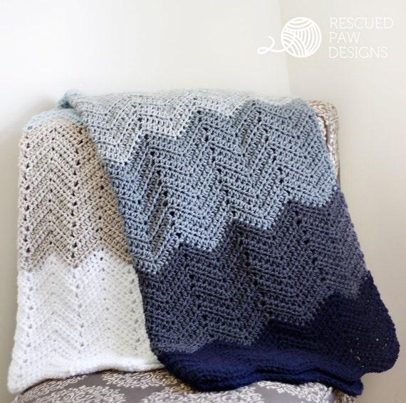 PDF Crochet Pattern - Ombre Ripple Blanket