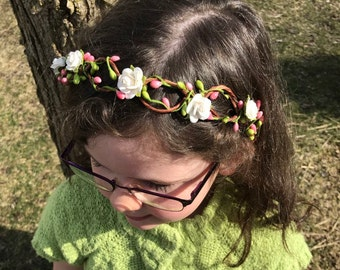 Flower Crown First Communion Easter Flower Girl Spring Flower Wedding Bridal Crown