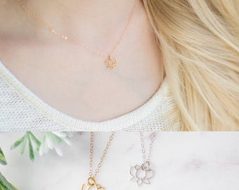 Gold Lotus Flower Necklace - Yoga Necklace - Dainty Gold Necklace - Tiny Lotus Necklace - 14K Gold Filled