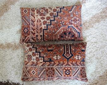 Chocolate tribal pillows -2 pcs /rug carpet kilim pillow/ silk tribal asian ethnic/ velvet couch pillow/ brown blue/ lumbar 12x20 in - pair