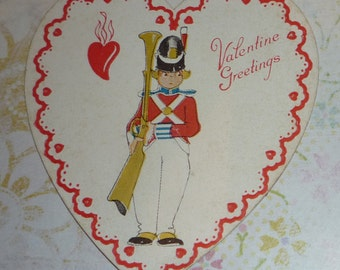 Little Soldier With Musket on Vintage Valentine Card