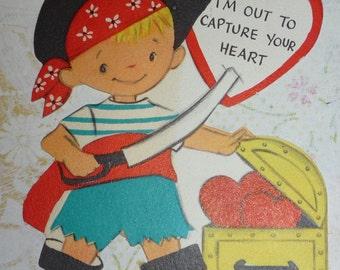 Cute Pirate With Treasure Chest Vintage Hallmark Valentine Card