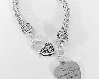 Gift For Her The Love Between A Mother And Her Son Is Forever Bracelet Valentine Mother's Day Gift Mom Charm Bracelet
