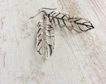 Silver Leaf Earrings. Curled Leaf Earrings. Long Drop Earrings. Large Leaf Earrings. Light Earrings. Unusual Earrings. Lightweight Earrings.