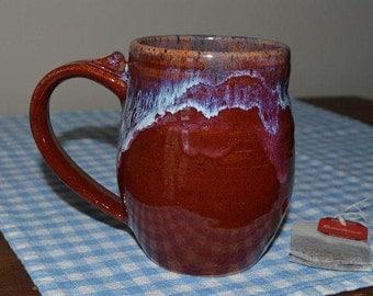 Mug glazed in deep red, coffee mug, drinking mug, drinkware, tea cup, pottery cup, red cup, red pottery