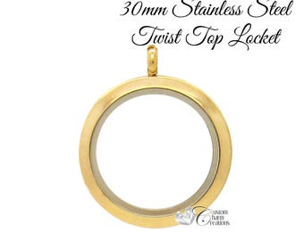 Gold Floating Locket • Stainless Steel • Twist Top • Large 30 mm ~ SS118