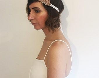 Rose Gold Headband - Rose Gold Headpiece - Bridal Hair Accessory - Rose Gold Jewellery - Rose Gold Hair Piece - Boho Headpiece Rose Gold