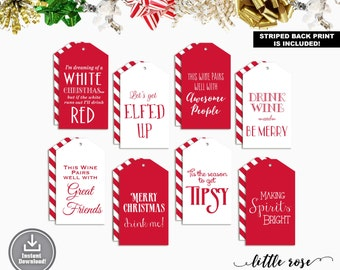 Printable Wine Tags - Holiday Wine Tags - Christmas Wine Tags - Wine Bottle Tags - Gift Labels - Favor Tags - Instant Download