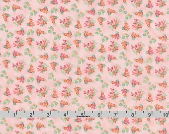 Pink Tiny Floral Fabric, Moda Fresh Cut 30393 13 Pink Flambe, Basic Grey, Small Flowers on Pink Quilt Fabric, Cotton