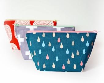 Kawaii cosmetic bag, blue green makeup bag, medium zipper pouch, make up pouch, rain drop pouch