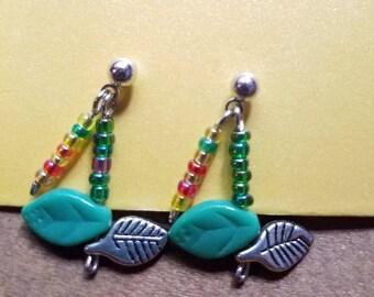 Dangling colorful leaf earrings