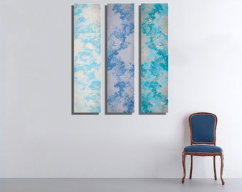 Blue Sky Large Vertical Thin Panel Metal Abstract Wall Art