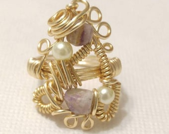 Gemstone Ring, Statement Ring, Amethyst Wire Wrap,  Ring Size 6, Gold Ring, Wire Wrap Ring, Ring, Handmade Ring, Wire Wrapped Jewelry, Ring.