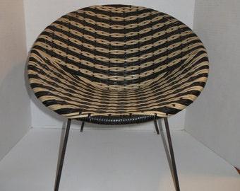 Vintage Child's Saucer Bucket Chair Plastic Woven