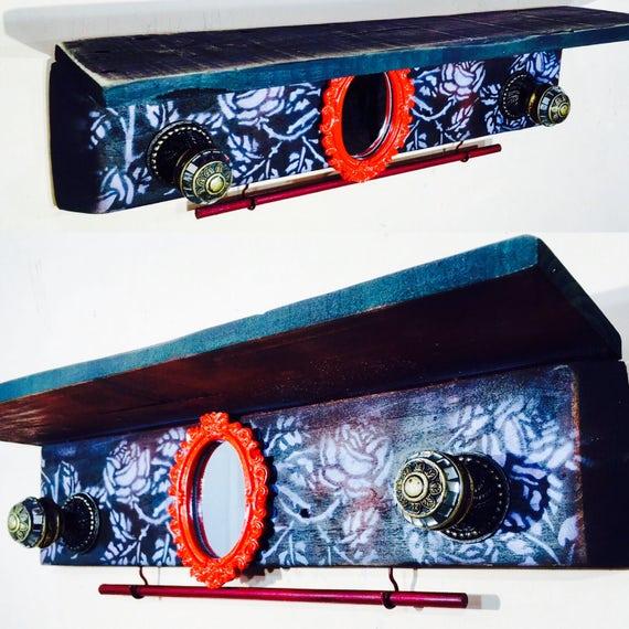 floating nightstand/ makeup mirror wall hanging shelf vanity/ pallet wood art bedroom decor 2 knobs 2 hooks wooden rod