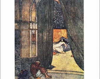Arabian Nights vintage art nouveau print illustration folk tale fairy tale Edmund Dulac 8.5x11.5 inches