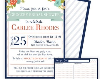 "Grocery Bridal Shower Invitation and Recipe Card - ""Stock the Pantry"" - SW506"