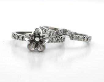 14K White Gold Tulip Engagement Ring, Bridal Set, Wedding Band Diamond Semi Mount! Set Diamond, Gemstone, Moissanite. La Tulipe USA Made
