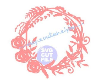 Floral rosette wreath digital cut file for htv-vinyl-decal-diy-plotter-vinyl cutter-craft cutter-.SVG -.DXF  & JPEG format