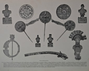 Anglo-Saxons jewels print. Antique print, 1894.  123 years old print.  11,5 x 8,4 inches.