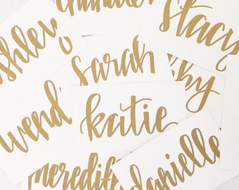 Hand Lettered Calligraphy Personalized Gift Tags - Graduation Gift Tags -  Holiday Gift Tags - Mother's Day Gift Tags- White Tags - Set of 5