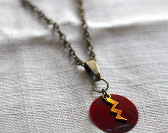 The Flash Barry Allen Symbol Handmade and Hand painted yellow lightning on a red coin Necklace