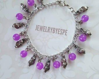 Owl Bracelet, Purple Bracelet, Charm Bracelet, Silver Bracelet, Boho, Bohemian, Gypsy, Tribal, Statement, Victorian, Gothic,best friend gift