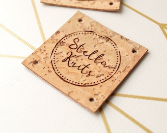 Cork leather labels, custom sew on labels, leather logo label, handmade labels, labels for knitted goods, personalized label tags, set of 25