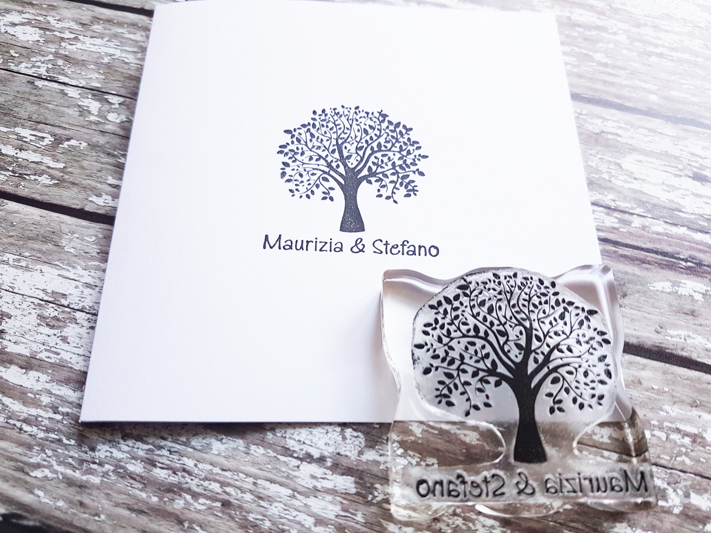 custom wedding stamp tree wedding stationery name