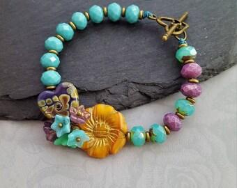 Bright Summer Floral Heart Bracelet