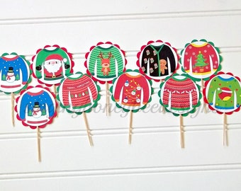 Ugly Christmas sweater cake toppers, ugly sweater toppers, tacky sweater party, Christmas party, Holiday party, Christmas cake toppers
