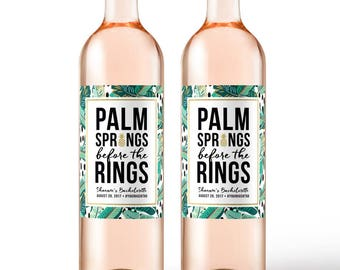 Bachelorette Party Wine Labels  - Tropical Palm Springs Girls Weekend Labels - Beach Bridal Shower - Aloha Party Pool Floatie