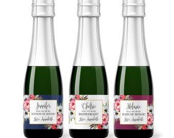 Set of Be My Bridesmaid Custom Mini Champagne Bottle Labels - Boho Wedding for Bridesmaid Box Proposal - Bridesmaid Card Wildflower Rustic