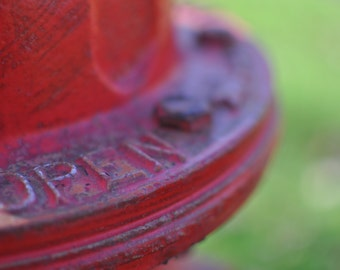 OPEN red fire hydrant close-up photograph 5x7