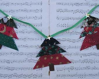 Christmas tree bunting, Christmas bunting, Holiday bunting, Christmas garland, Christmas banner, festive bunting festive garland xmas banner