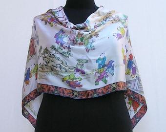 White poncho, silk poncho, oriental poncho, white wrap, silk wrap, oriental wrap, asymmetrical poncho wrap, white silk shawl, white capelet