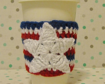 America Cup Cozy, Crochet Sleeve, Drink Holder, Hot or Cold Beverage, Star, 4th of July, Patriotic, Birthday Gift, Cup Warmer, Party Favor