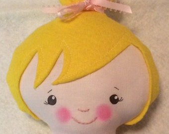 "Handmade Girl Coth Doll 16"" Hailey Plush Softie Rag Doll Pink Princess Dress Yellow Blond Wool Felt Hair"