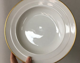 Vintage Rosenthal Soup Bowls, Rosenthal Madeleine, set of 10 | gold rimmed china, large rimmed soup bowls, white and gold porcelain bowl