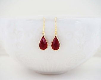 Dark Red Garnet and Gold Teardrop Earrings, Bridesmaid Earrings, Wedding Earrings