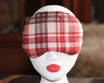 Eye mask, eye pillow with  flax seeds, unscented, headache, dry eyes,relaxation, stress relief, microwavable hot or cold pack, plaid flannel