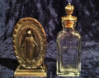 Antique  Our Lady Of Grace Holy Water Bottle And Stand
