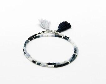 Beaded Friendship Bracelet, Black and White Seed bead Tassel Wrap bracelet Boho Jewelry Tribal Bracelet Best Friend Gift for her