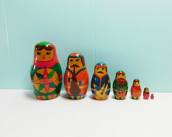 Vintage Set of 7 Musician Russian Matryoshka Nesting Dolls, Russian Band Nesting Dolls, Russian Stacking Dolls