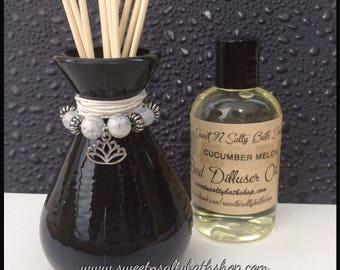 Black Glass Reed Diffuser Gift Set-Choose Your Scent & Charm/Lotus/Om/Yoga/Meditation