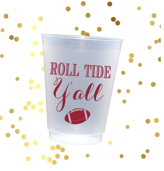 Alabama tailgating cups, roll tide shatterproof cup, custom plastic cups, sec football tailgating cups, college football cup